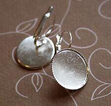 10pcs Silver tone Brass Leverback Earrings Cabochon Resin 18mm base setting