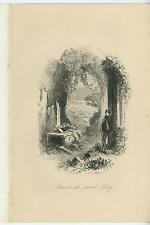Antique Solemn Man Ruins Abbey Arbor Plants Topiary Garden Etching Old Art Print