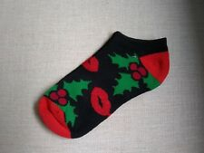 Brand new ladies Christmas red glitter lipstick and Holly ankle Socks size 9-11