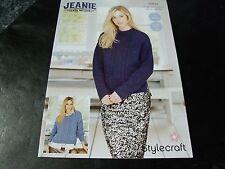Stylecraft Jeanie Denim Look Jumper and Cardigan Pattern 9359 2 Designs