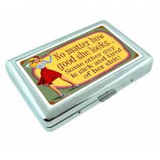 Vintage Poster D235 Silver Metal Cigarette Case Card Wallet How Good She Looks