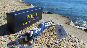 NEW POLO Ralph Lauren swivel pin braided key chain fob ring gift box blue white