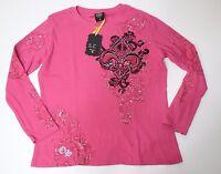 Women Long Sleeve Pink Black Embellished T shirt Fleur De Lis Size 3X Top