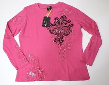 Women Long Sleeve Pink Black Embellished T shirt Fleur De Lis Size 3X Top