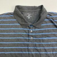 George Golf Polo Shirt Men's 2XL XXL Short Sleeve Gray Blue Striped Cotton Blend