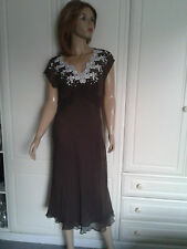 MARKS & SPENCER AUTOGRAPH BROWN SILK DRESS SIZE 12 WHITE LACE TRIM,FULL SLIP