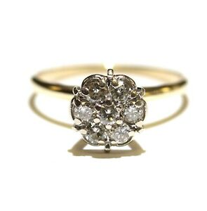 10k yellow gold .56ct SI3-I1 H shower head diamond cluster womens ring 2.5g 7