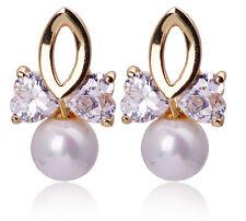 Luxury Gold and White Pearl Zircon Bows Women Dangle Drop Stud Earrings E746