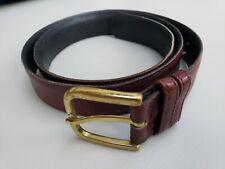 Eddie Bauer Men's Genuine Leather Belt - Brown - with Brass Buckle Size 34 USA