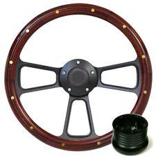 Hot Rod Street Rod Rat Rod Truck Mahogany Billet Steering Wheel, Horn & Adapter