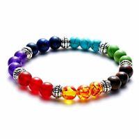 7 Chakra Healing Beaded Bracelet Natural Lava Yoga Reiki Stone Bracelet Jewelry