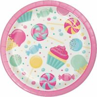 """8 x CANDY BOUQUET 7"""" PAPER PLATES PINK GIRLS BIRTHDAY PARTY CHILDRENS TABLEWARE"""
