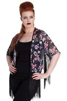 Hell Bunny Spin Doctor Morgan Skull Floral Flowers Punk Open Top Casual Kimono