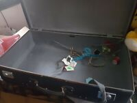 VINTAGE BLUE  GLOBE TROTTER SUITCASE / TRUNK, CHROME LOCKS SHOP DISPLAY