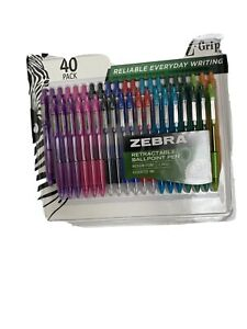 Zebra Retractable Ballpoint Pen Assorted Ink 40 Pack.
