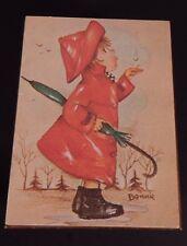 Vintage Hummel Bonnie Wood Music Box Red Rain Coat Japan Toyo Raindrops Keep Fal