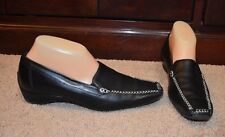 Paul Green Black Leather Wedge Loafers Shoes Sz. 5 AUSTRIA / 8 AA ( N ) US