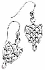 Drop Style Celtic Interlace Earrings Sterling Silver Pierced Fitting