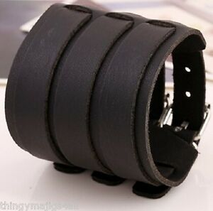 LEATHER WIDE WRISTBAND WRIST STRAP BAND BLACK 3 BRACELET PUNK A86 UK SELLER