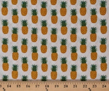 Pineapples Tropical Fruit Summer Food Cream Cotton Fabric Print by Yard D406.22