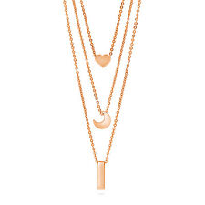 BERRICLE Rose Gold-Tone Heart Crescent Moon Bar Fashion Layered Necklace