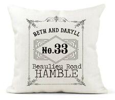 Personalised New Home/Address Cushion,Family Gift,Wedding Keepsake/Vintage