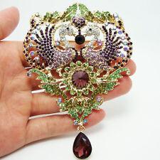 Vintage Style Lovers Peacock Bird Sunflower Pendant Purple Crystal Brooch Pin