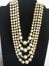 Vintage Faux Pearl/Faceted AB Rhinestone/4 Strand Adjustable Necklace