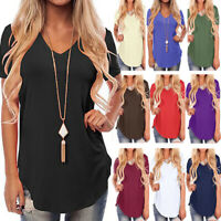 UK Summer Womens Cold Shoulder T Shirt Blouse Ladies Loose Tee Tops Size 6-18