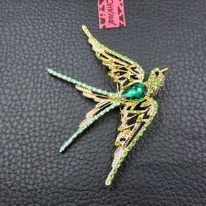 Shiny Green Crystal Exquisite Swallow Betsey Johnson Charm Brooch Pin Gift