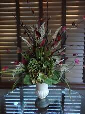 Silk Floral Flower Arrangement Centerpiece Hydrangea Burgundy Lighted Branch