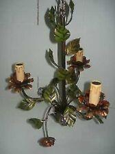 Lámpara de araña con rosa y hojas colorido de hierro 3 luces