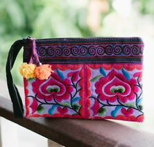 Flower Purple Women's Purse with Hmong Hill Tribe Embroidery, Unique Thai Clutch