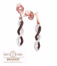 10K Rose Infinity Brandy Diamond Chocolate Brown Luxurious Dangle Earrings .17 C