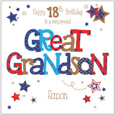 Personalised 16th 18th 21st 30th birthday card Great Grandson Any Age/Name