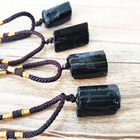Natural Black Tourmaline Necklace Crystal Rock Schorl Pendant Healing Stone Lot