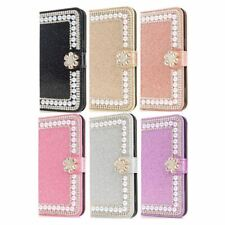 Luxury Flip Bling Pearls Leather Wallet  Stand Case Cover For Samsung / iPhone