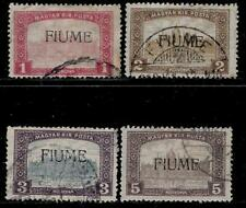 Fiume Under Austro Hungary Empire 1918 Overprinted on Hungary Stamps