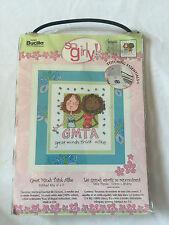 "Bucilla So Girly! Counted Cross Stitch GMTA Stitched SZ 6""x7"" #43932 NEW"