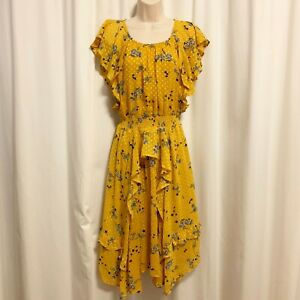 ASTR The Label S Small Sheila Clip Dot Floral Print Ruffle Dress Yellow $138