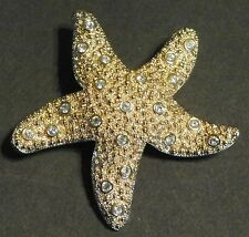 SWAROVSKI CRYSTAL STARFISH BROOCH PIN GOLD SIGNED SWAN