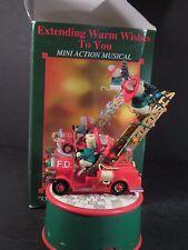 Enesco  1994 Music Box EXTENDING WARM WISHES TO YOU Mice Firetruck