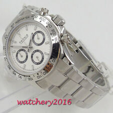 39mm PARNIS white dial sapphire glass solid full Chronograph quartz men's Watch