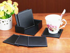 6 Pcs Set PU Leather Round/Square Drink Coasters Holder Pads Mats Tableware 10CM
