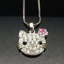 Silver SWAROVSKI Crystal HELLO KITTY Pendant Necklace Wedding Girls Gift Cat