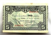 Spain-Guerra Civil. Billete. 5 Pesetas 1937 Bilbao. Circulado
