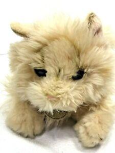 "Miyoni Aurora Tan Long Hair Fuzzy Persian Cat Kitten 10"" Plush With Neck Tag"