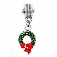 Christmas Wreath Holiday Red Green Dangle Bead fits European Charm Bracelets