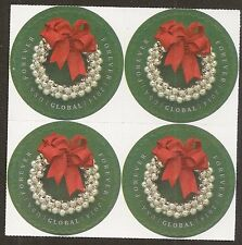 US 4936 Silver Bells Wreath global forever block (4 stamps) MNH 2014