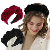 Ladies Flower Headband Hairband Wide Alice Hair Band Accessories Velvet Headwear